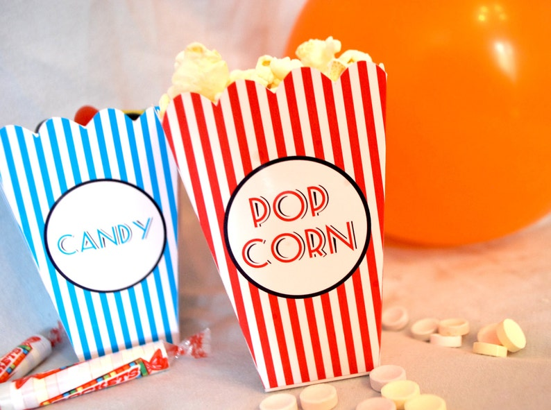 Popcorn and Candy mini printable boxes party favors DIY cute image 0