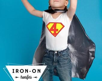 Instant Download Superhero Iron-On Transfer NUMBERS Lettering Super Hero Costume DIY Printable