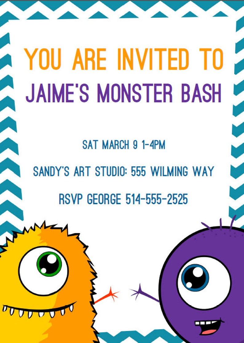 Instant Download EDITABLE Monster Birthday Invitations and image 0