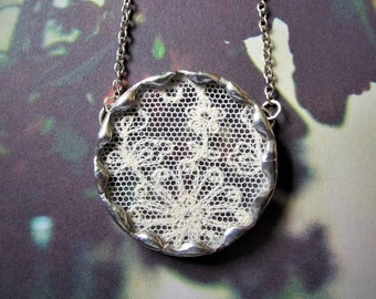 Purity - Antique Lace and Vintage Glass, Hand Soldered Silver Tone Necklace with Gift Box