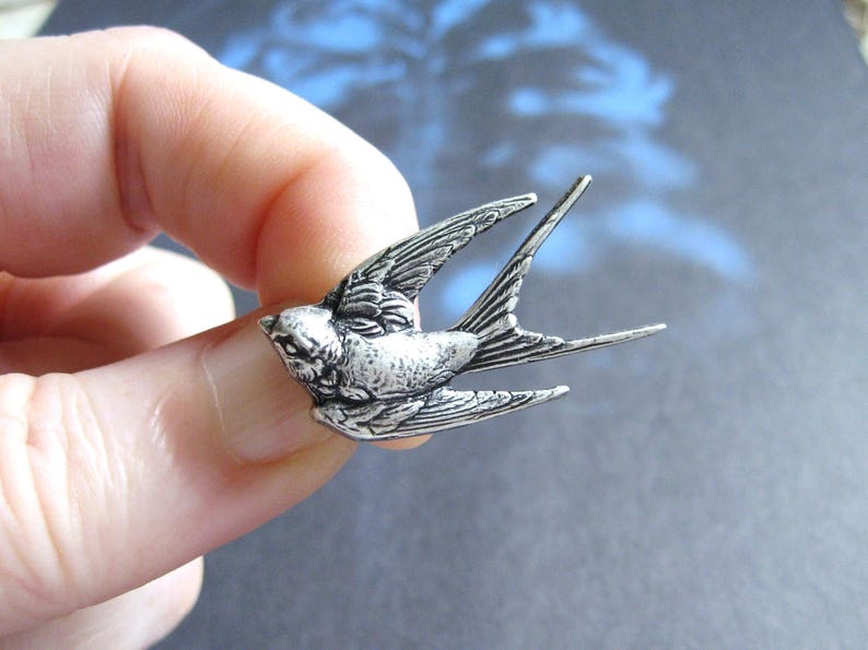 Antiqued Silver Plated Bird Brooch Tie Tack with Gift Box Lapel Pin or Tie Pin Silver Swallow