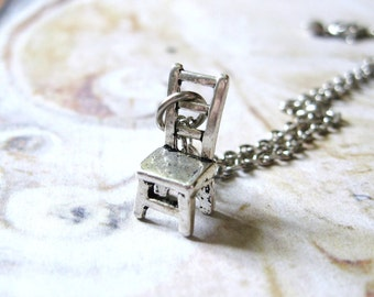 Be Seated - Antiqued Silver Tone Chair Charm Handmade Necklace - Gift Box