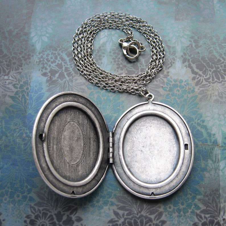 Large Vintage Style Antiqued Silver Locket Long Elegant Handmade Necklace with Gift Box Victorian Keepsake