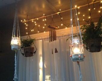 Beautiful Macrameu0027 Plant Hangers Set Of 6 Indoor/Outdoor Patio Decor ~ Natural Jute  Beads
