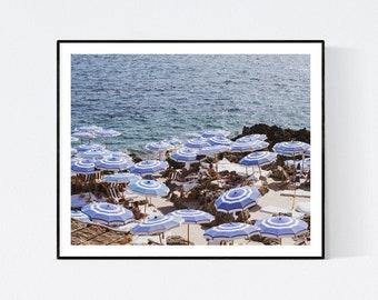 Italy Photography, Fontelina Beach club in Capri, Italy, beach photography, Italian home decor, Beach Art, bedroom art, beach umbrella