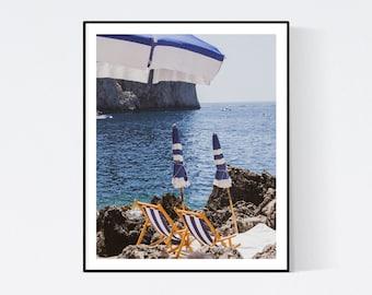 Italy Photography, Umbrellas at Fontelina Beach club in Capri, Italy, beach photograph, Beach Art, bedroom art, beach umbrella