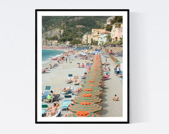 Italy Photography, Beach days in Monterosso, Italy, beach photography, Italian home decor, blue umbrellas, summer in italy