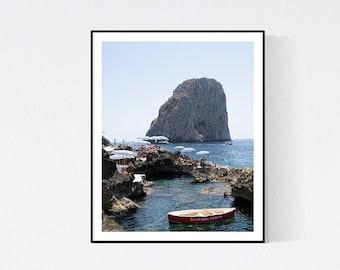 Italy Photography, Boat at Fontelina Beach club in Capri, Italy, beach photograph, Beach Art, bedroom art, beach umbrella