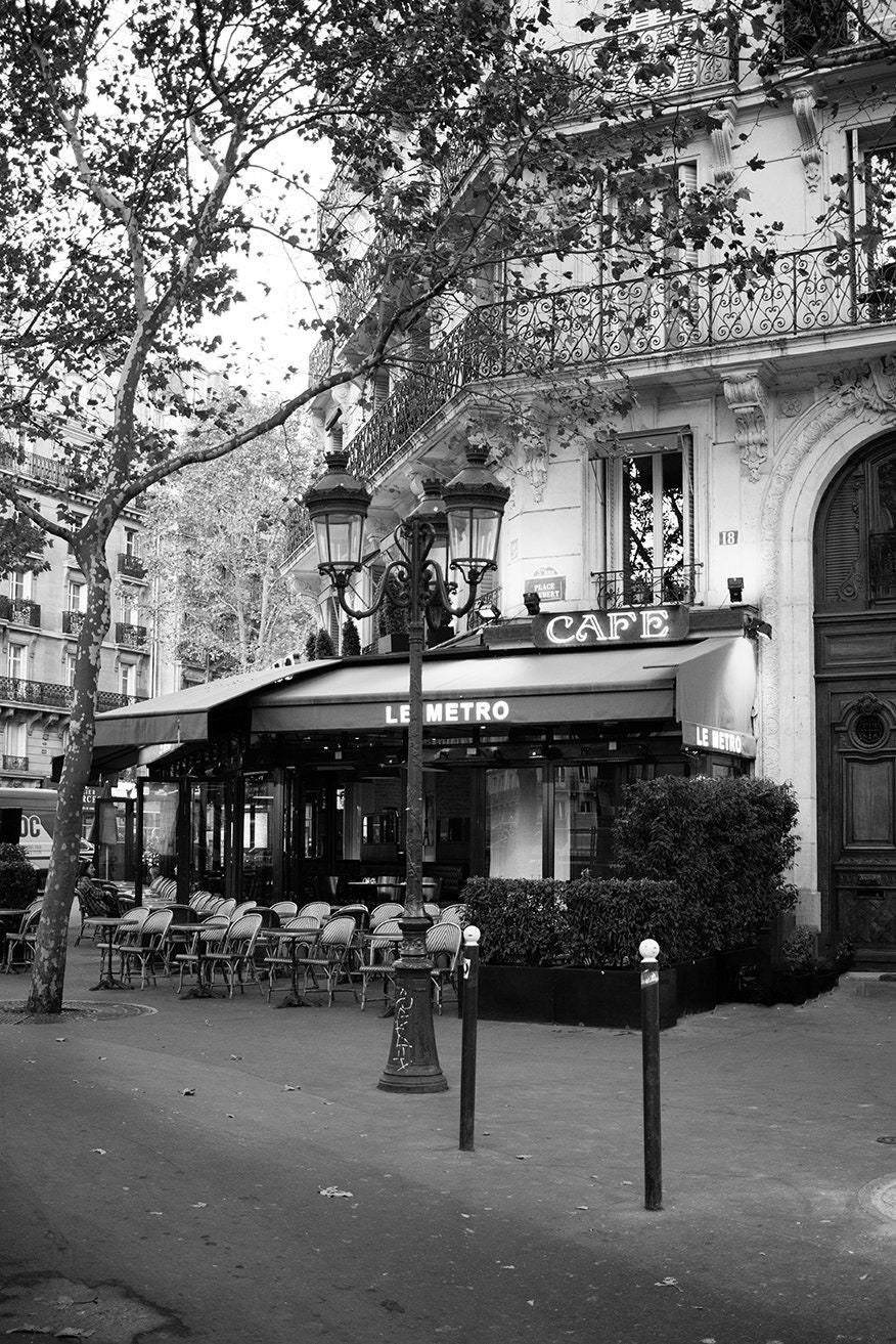 Black And White Paris Photography Paris Cafe On The Left Etsy