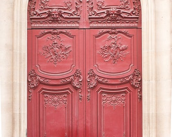 Paris Photography, Red door, Paris Decor, paris print, Door in Paris, France, red wall art, paris print, parisian decor