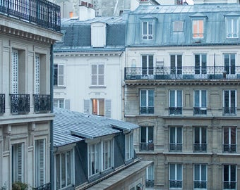 Paris Photography, The Blue Hour, Right Bank Paris, Parisian Rooftops, soft blue and grey, Paris, France, French Wall Decor, Opera House