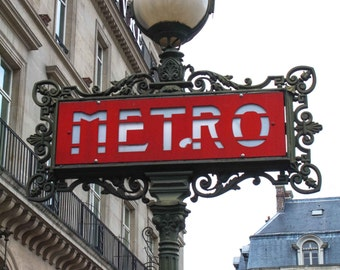 Paris Photography - The Paris Metro at the Louvre, Red Paris Wall Art - French home decor - Paris Decor, Ruby Red in Paris