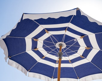 Italy Photography, Blue Umbrella at Fontelina Beach club in Capri, Italy, beach photography, Beach Art, bedroom art, beach umbrella