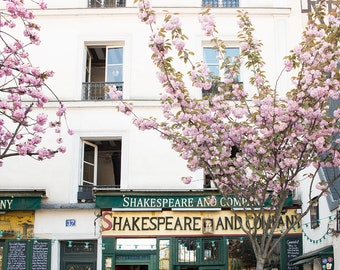Paris Photography, Shakespeare and Company Storefront, Paris in Bloom, Book Lovers, Office Decor, Francophile, Cherry Blossoms, Paris Print
