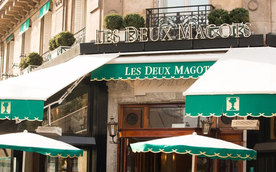 Café Les Deux Magots, St Germain des Près, Paris Photography, Paris cafe in green, Restaurant in Paris, Paris Home Decor, Kitchen Wall Art