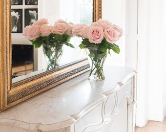 Paris Photography, Afternoon Light in the Paris Apartment, Pink Roses, Gold Mirror, Parisian Apartment, Gold and Pink, Rebecca Plotnick