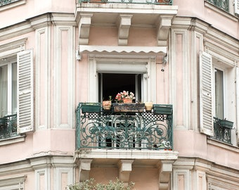 Paris Photography, Spring Fever in Montmartre, Rue des Abbesses, Pink Balcony, Landscape, Paris Print, Gallery Wall Art