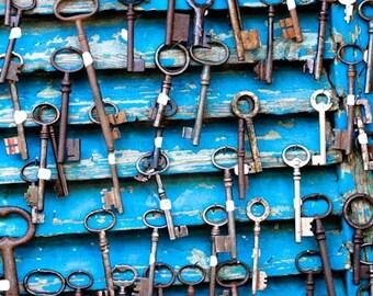 Paris Photography - Antique Keys at Flea Market in Paris, France - Skeleton Keys, Paris home decor - cobalt blue, office wall art, paris art