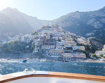 Italy Photography, Positano by Boat, Amalfi Coast Italy, beach photography, Positano Art, bedroom art, beach umbrellas