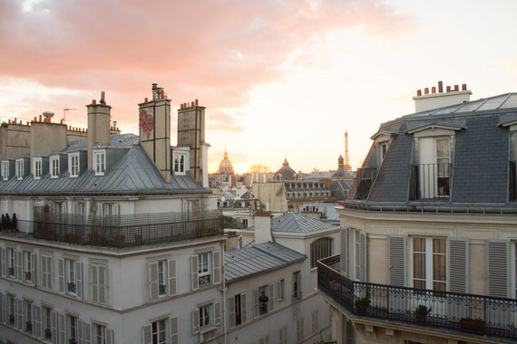 paris photography sunset on st germain parisian rooftops etsy