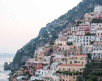 Italy Photography, Positano at Dusk, Amalfi Coast, Italy, beach photography, home decor, Beach Art, bedroom art, Positano umbrellas
