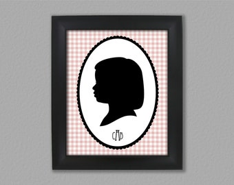Framed Custom Silhouette Portrait - Framed 8x10 Art Print - Trending Plaid with Monogram