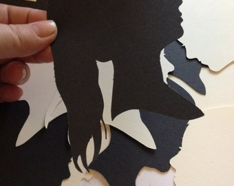 Hand Cut Silhouette Portrait - Various Sizes - Custom Silhouette Portraits - Traditional Artwork - Handmade Present - trending gift