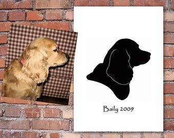 Custom Silhouette Pet Portrait - Art Print - Various Sizes - Unique Portrait of your Best Friend - Wonderful Gift for any Pet Mother!