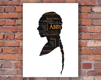 Custom Silhouette Portrait -Personalized Personality Silhouette - Unframed Art Print - Unique and Creative Gift - trending - 2018 graduate