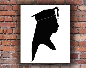 Graduation Silhouette - Hand Cut Silhouette Portrait - Various Sizes - Custom Silhouette Portraits - Traditional Artwork - Handmade Present