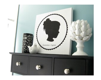 Custom Silhouette Portrait - 12x12 Canvas Print - Beautiful Trendy