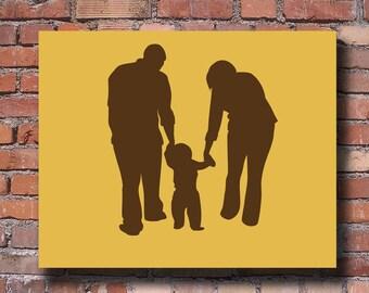 Family Silhouette - Custom Family Silhouette Portrait - Unframed 8x10 Art Print - Wall Art- Trending
