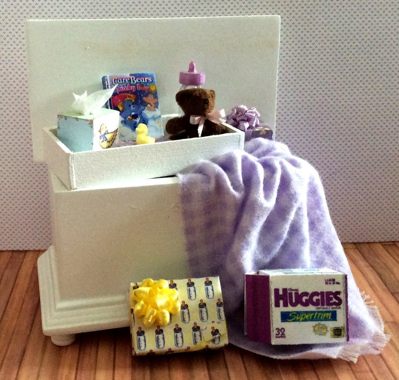 SALE Miniature One Inch Scale Filled Lavender Baby Trunk