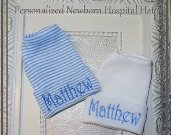personalized baby hospital hats, Baby Boy Newborn Hat, infant HAT for boy, Initialed baby hat, personalized baby gift, baby gift for boys