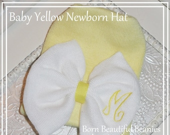 Newborn hat, Yellow Baby girl Hat, Newborn hat with bow, Baby Gift, Personalize Baby Hat with Initial, girl shower gift, Yellow baby hats