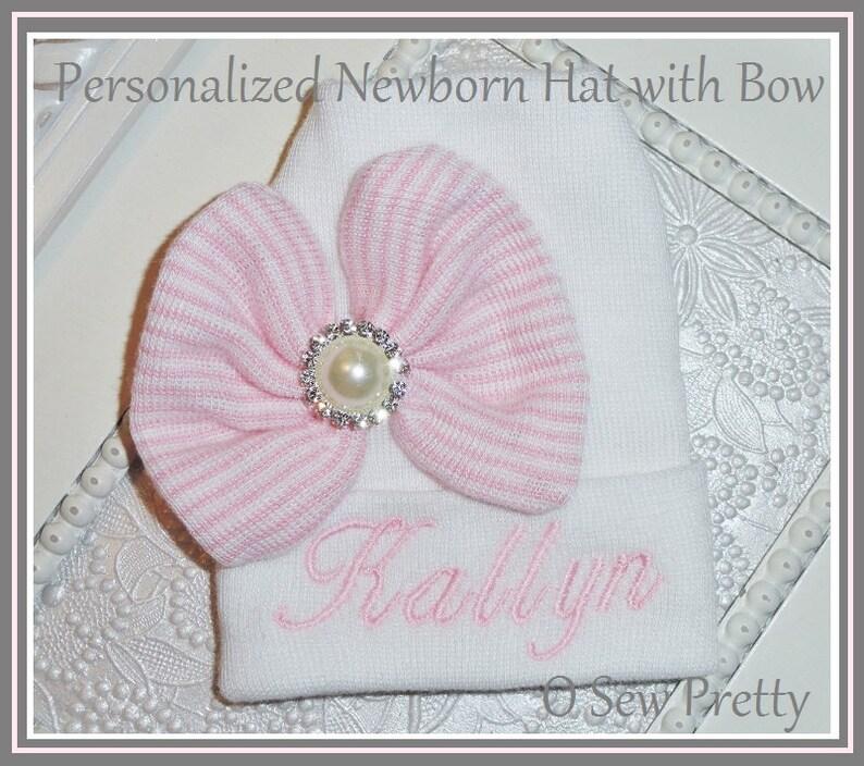 6657c14277e Personalized Newborn Hospital hat Personalized newborn hat