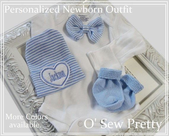 Take me home outfit boy Infant hat Newborn Gifts Newborn Boy Bow-tie one Piece Outfit with matching hat and socks Ladies I have arrived