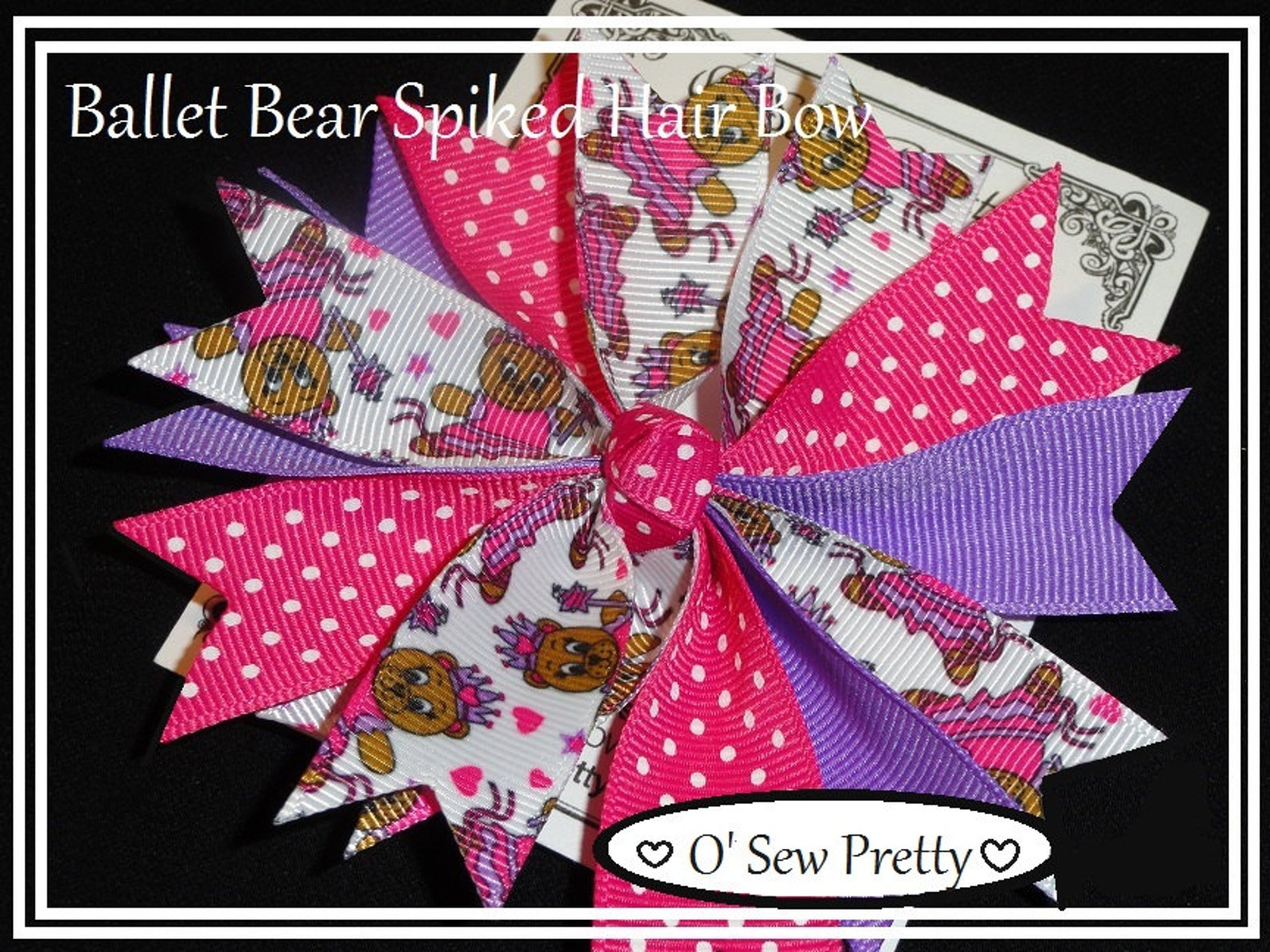 ballet hair bow, ballet princess hair bow, ballerina hair bow, spiked hair bows, hair bow, ballet bear hair bow, pink and purple