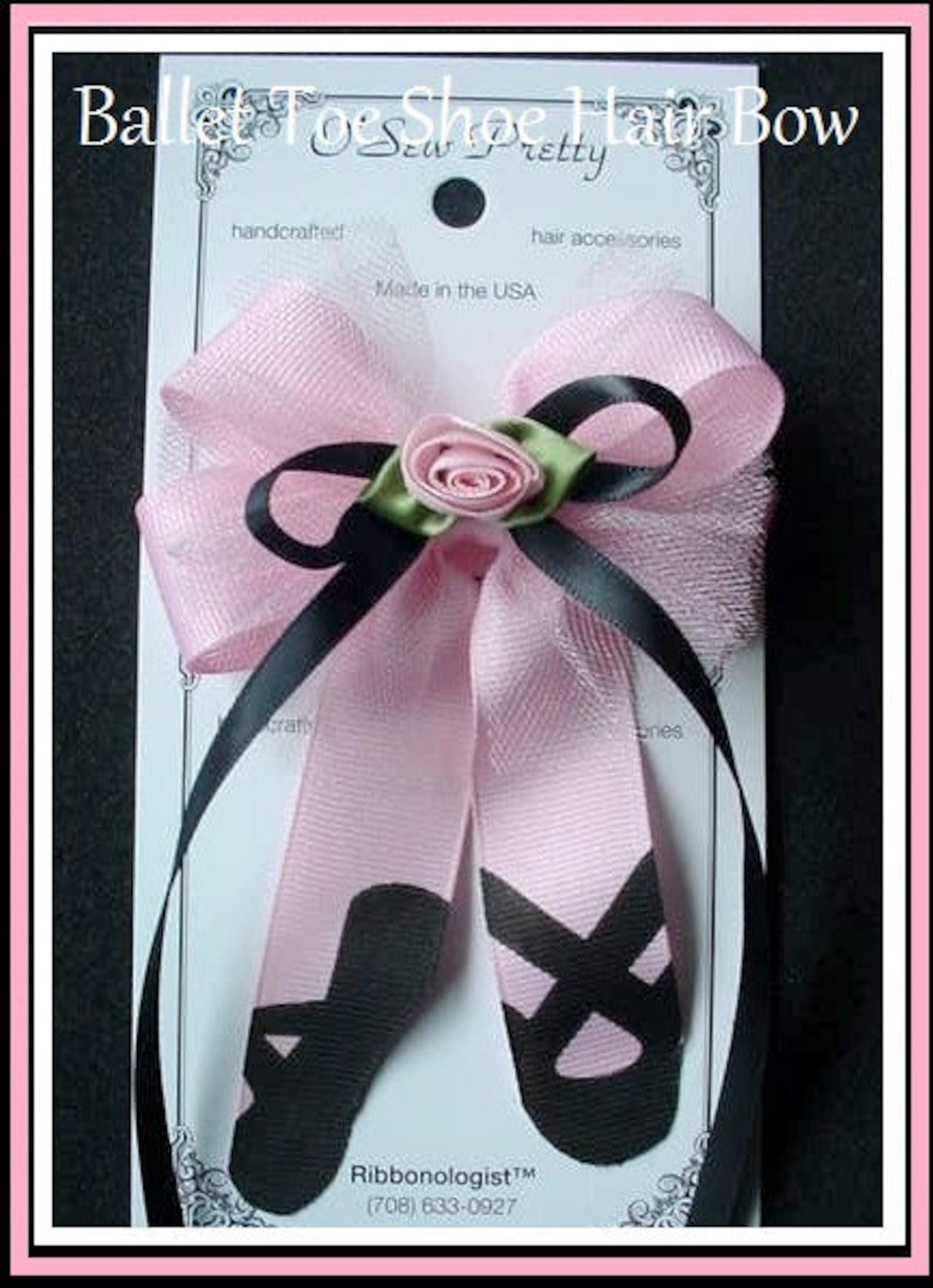 ballerina hair bow, ballet hair bow, ballet toe shoe hair bow, pink hair bows, dance hair bow, pink ballet hair bows, ballet hai