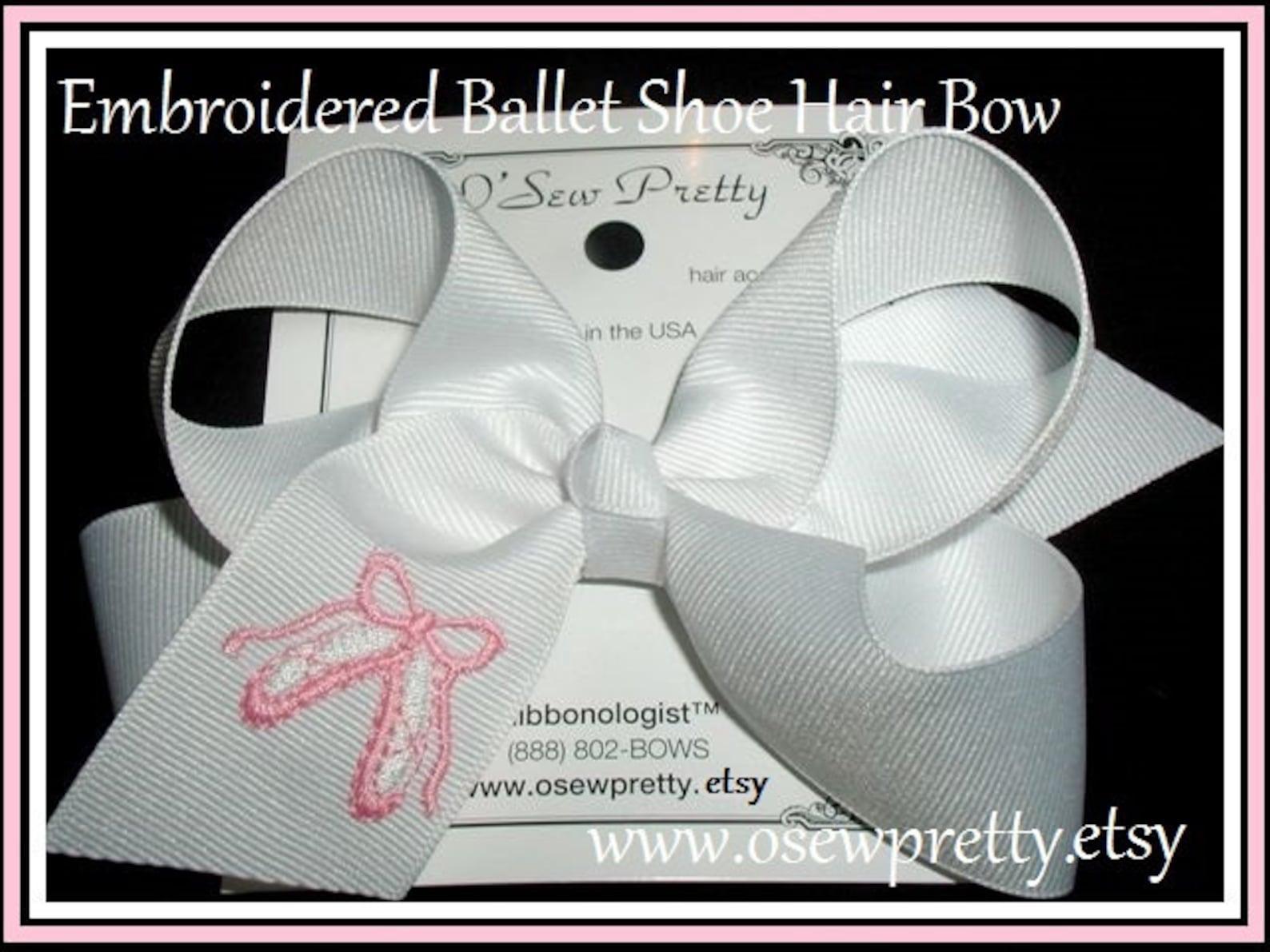 pink ballet hair bows, embroidered ballet hair bow, ballerina hair bows, ballerina hair bows, ballet headband, ballet bows, ball