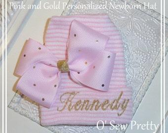 Personalized Newborn Hospital hats, Personalized Pink and gold Newborn hat, Personalized Infant Hospital Hat, baby girl Infant hat, Baby hat