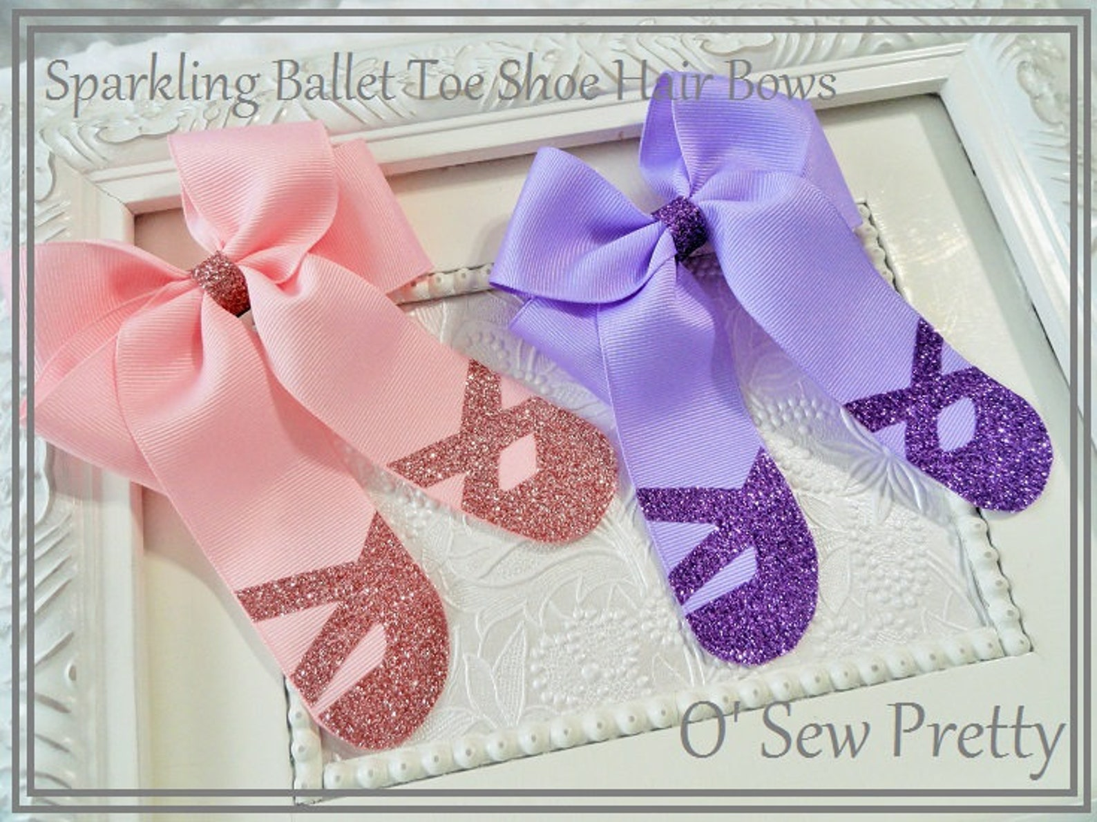 ballet hair bows, purple ballet hair bows, pink ballet toe shoe hair bows, dance hair bows, sparkling ballerina hair bow, ballet