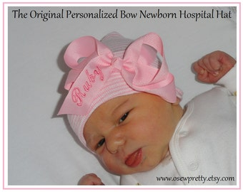 First name or initial embroidered on a baby Hospital hat, baby girl, newborn outfit, newborn hospital hat, personalized newborn hat,