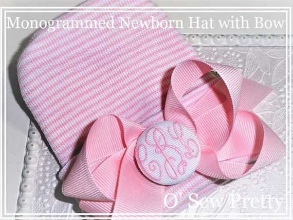 8d14a4f57f7 Personalized Newborn hospital hat Newborn Baby hat with bow
