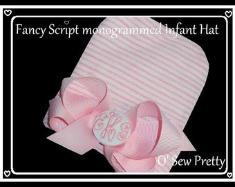 PERSONALIZED Baby hat, MONOGRAMMED Newborn hospital hat, Newborn hat with bow, Girl Baby girl hat, Monogrammed baby hat, Initialed baby hat