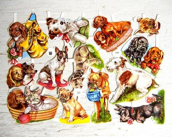 EAS German Paper Scrap Dogs Puppies | Boxer Terrier Wiener Spaniel Scotty Dogs | Cut Scrap | Embossed Diecut Scrap | EAS 3126