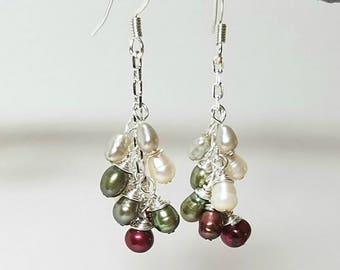 Pearl cluster earrings, sage green, freshwater pearls, white pearl bridal earrings, june birthstone, pearl cluster,