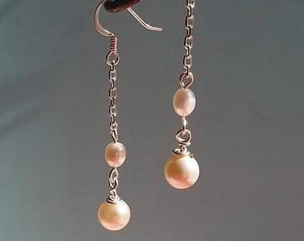 Long pearl earrings, drop earrings, dangle earrings, pearl jewelry, white pearls, pearl chain earrings, gift for girlfriend