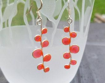 stained glass earrings, orange resin, resin jewelry, beach, ocean, uv resin, resin earrings, bubble earrings, pink, peach
