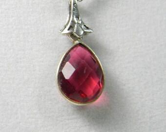 Pink quartz, tear drop necklace, pendant necklace, pink crystal, crystal necklace, pink jewelry, gemstone jewelry